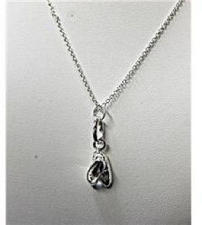 $50 Dazzling Ladies 18k White Gold Ballet Shoes Necklace JA4035