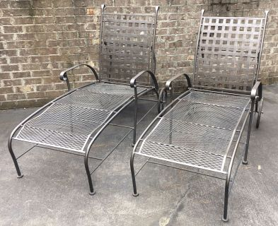 2 Iron Chaise Lounge Chairs