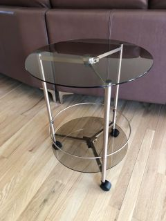 Mid-Century Modern Inspired Round Glass Rolling Side Table in a Warm Brushed Copper Finish