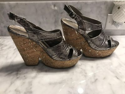 BCBG Generation Silver and Cork Wedges