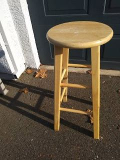 1 tall round wooden bar stool counter chairs