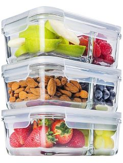 Brand New Set of 3 two compartment glass containers with lids