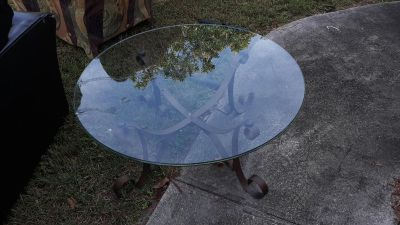 2 glass tables $40
