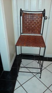 3 leather bar chairs