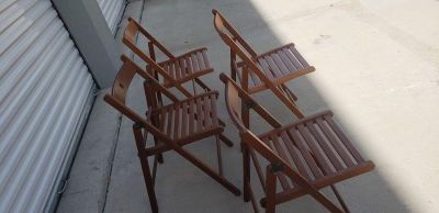 4 Brown Wood Folding Chairs
