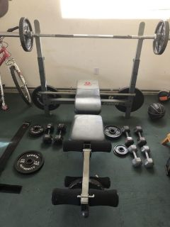 Weight set and bench.