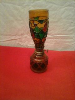 Vintage 60's Stained Glass Oil Lamp