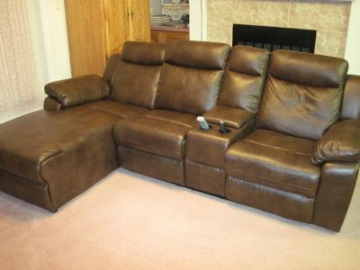 Reclining Leatherette Loveseat & Chaise Lounge