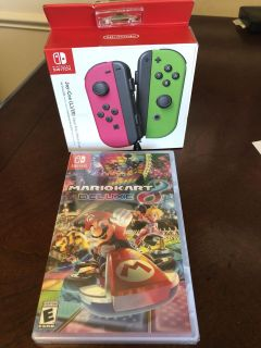 Nintendo switch controllers and Mario Kart Deluxe game
