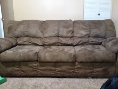 tan microfiber couch and loveseat