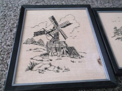 set of two 8 x 10 framed cross stitched pictures
