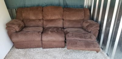 Tonight ONLY Brown Plush micro suede Double recliner couch