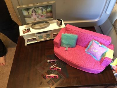 American Girl Comfy Couch and Entertainment Cenrt