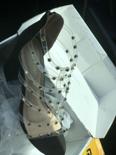 Black suede studded heels BRAND NEW IN BOX