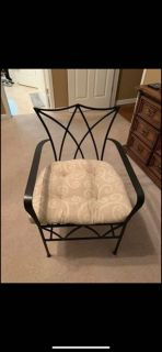 Black Heavy Wrought Iron Chair-EUC