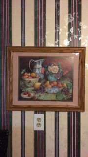 Wooden framed fruit and flowers picture