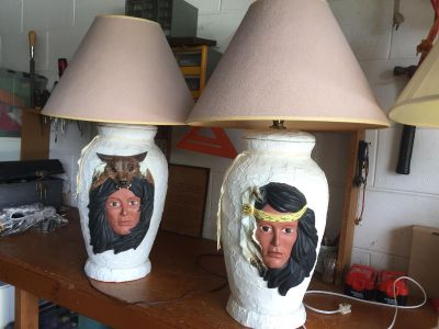 Pair of table lamps: Native American Theme