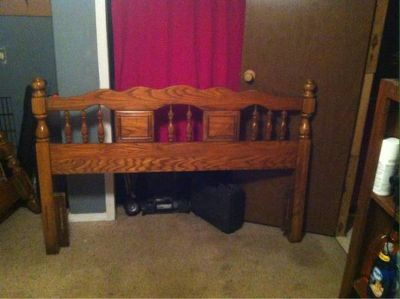 Full or queen size bed frame with rails and slats
