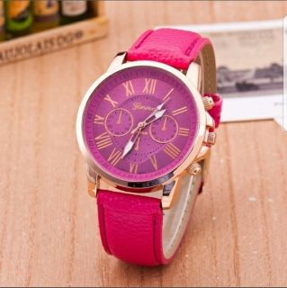 Leather band watch