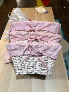 Wicker Basket with pink gingham liner PRICE EACH