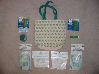 Vintage Girl Scout Bag, 2 Mini-Lights, Toothbrush, Cup, 2 Dunk Bags,2