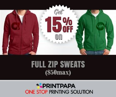 Get 15% Off on full zipped sweatshirts from PrintPapa