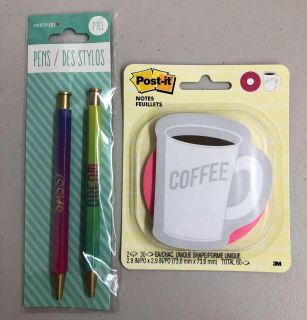 New Coffee & Donut Post It Notes & 2 Pack Pens