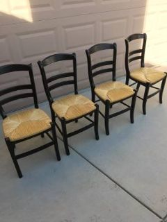 Set of 4 Solid Wood and Cane Chairs