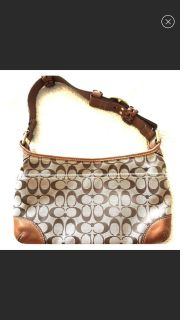 Authentic Coach shoulder bag with leather detailing