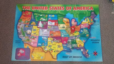 First Learning Wooden USA Map Floor Puzzle