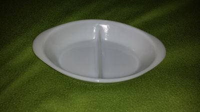 """Glasbake White Divided Serving Dish. About 11.5"""" x 8.5"""" and about 2"""" deep. Microwave safe."""
