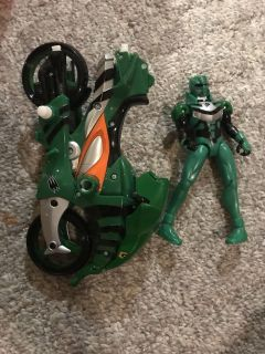 Green power ranger and motorcycle