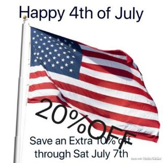 20% OFF 4th OF JULY SALE ENDS SATURDAY 7th