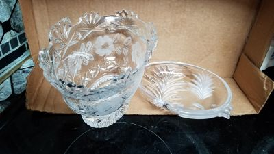 Lead Chrystal bowl and etched glass candy dish