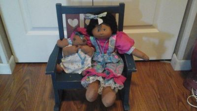 NEW! Hand Sewn Afro American Baby Dolls w/Wooden Rocking Chair