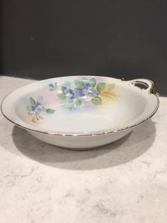 Hand Painted Blue And White And Green Flowers Nippon Bowl. 7 Around