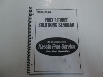 Purchase 2007 Suzuki Service Solutions Seminar Manual STAINED FACTORY OEM BOOK 07 DEAL*** motorcycle in Sterling Heights, Michigan, United States, for US $14.99
