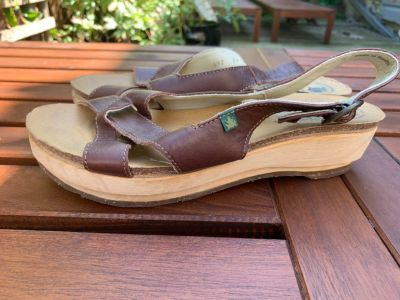 El Naturalista Brown Leather and Wood Sandals 39/8.5