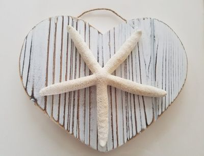 Hand made coastal wooden home decor and real starfish plague.