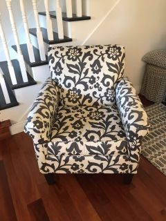 Oversized Blue and White Print Armchair