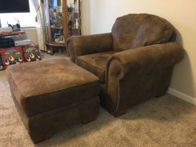 Broyhill Burnished Leather Chair and Ottoman