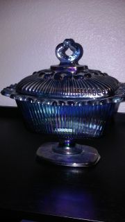 Blue Carnival Glass Candy Dish with Lid