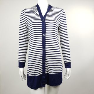 Soma Blue White Striped Hooded Top - Small