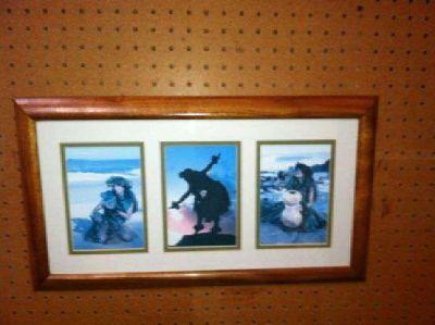 $30 Koa wood framed hula dancers