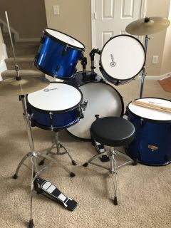 Gammon Percussion Full Size Complete Adult 5 Piece Drum Set with Cymbals Stands, Stool, Sticks, and Sound Off Mute Pads.