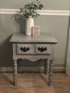 Cute gray distressed side table