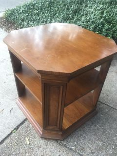 Great solid sturdy wood side table, large size