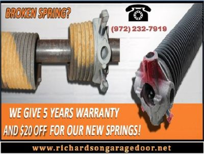 Broken Garage Door Spring Repair Richardson, 75081 TX