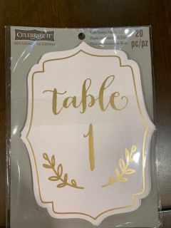 Table numbers 1-20
