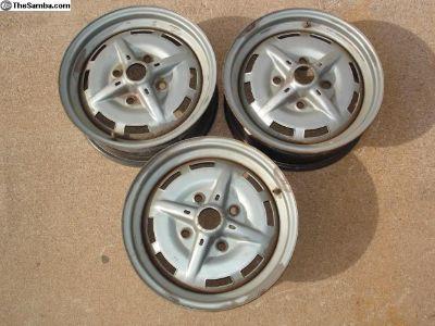 """3 VW 4 Lug Wheels 5 1/2"""" X 15"""""""